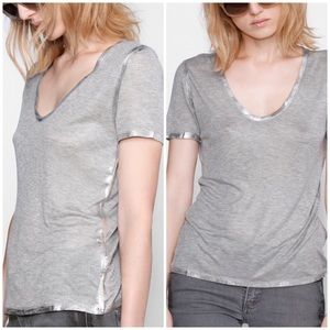 NEW Zadig & Voltaire tino foil v neck top
